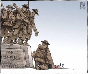 This somber cartoon, by the Halifax Chronicle-Herald's Bruce MacKinnon: fallen soldiers of another, distant conflict help a youngster to join their unforgotten ranks.