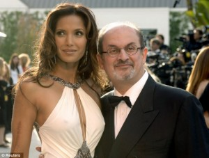 *Certainly* no pessimist! (This is not his daughter.) Padma Lakshmi was Mr. Rushdie's 4th wife.